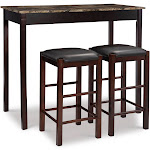 "Tavern 42"" Wood Table & 2 Upholstered Backless Stools - Espresso Wood - Linon"