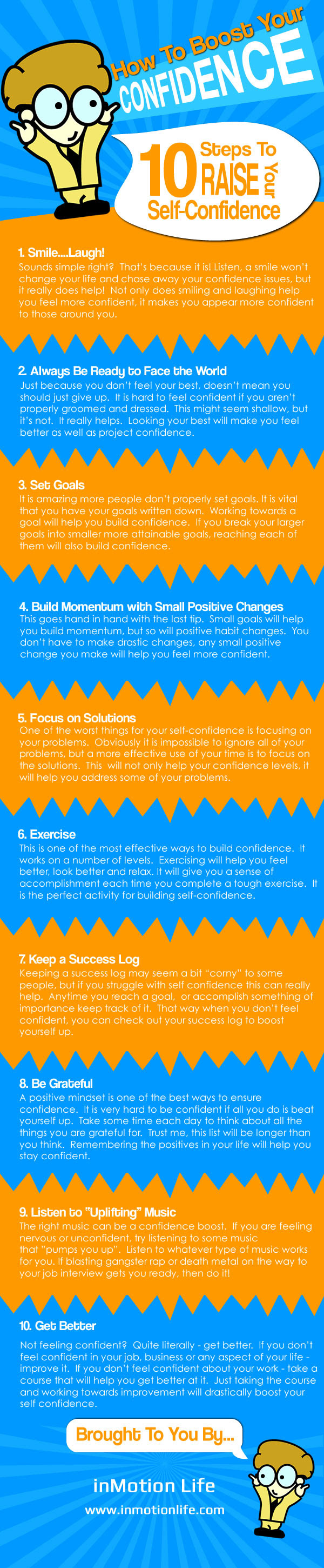 Infographic : How to Boost Your Confidence instantly : 10 steps to raise your self-confidence and self-esteem