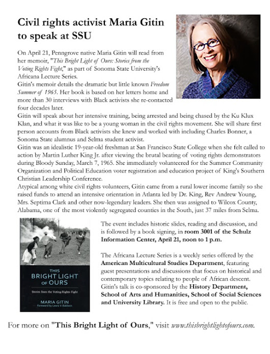Maria Gitin Returns Home to Read at Sonoma State University on her Birthday April 21st