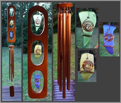 art windchime, cedar, sea glass, copper, Coast Chimes