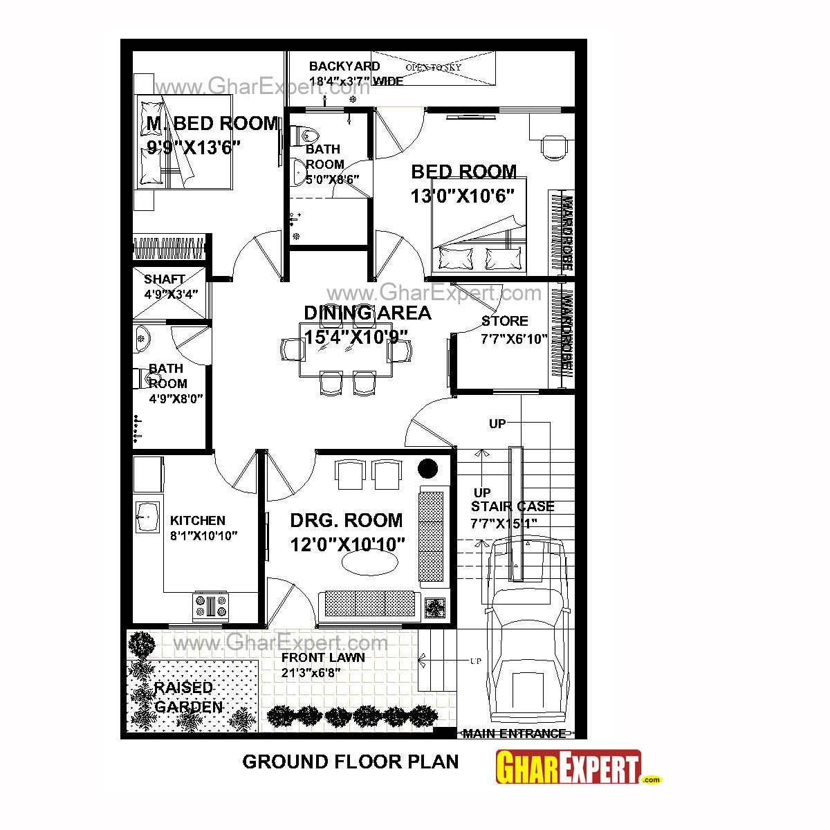 House Plan For 30 Feet By 45 Feet Plot Plot Size 150 Square Yards Gharexpert Com