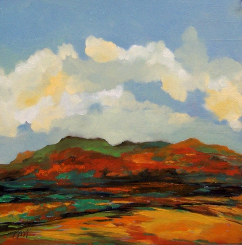 AUTUMN HILLS, oil painting landscape original 100% charity donation, oil landscape, 10x10, art board, clouds, sky, hills, mountains - PaintingWell
