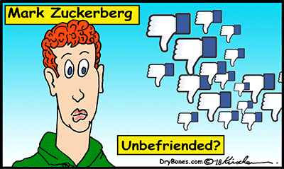 Dry Bones cartoon, Zuckerberg, Facebook,Cambridge Analytica, scandal,