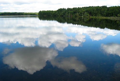 reflections, clouds & blue sky