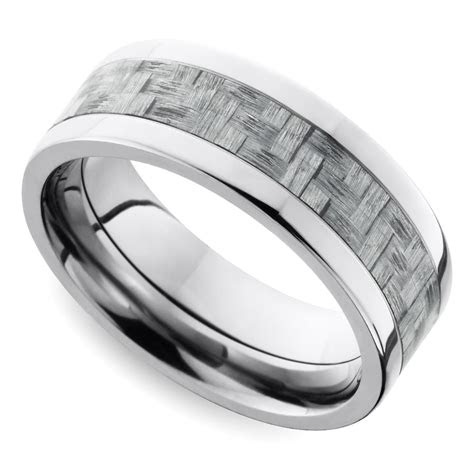 silver carbon fiber flat mens wedding ring  titanium
