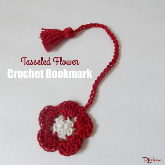 Tasseled Flower Crochet Bookmark - CrochetN'Crafts