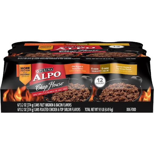 Alpo Chop House Dog Food, Variety Pack - 12 cans, 9.9 lb