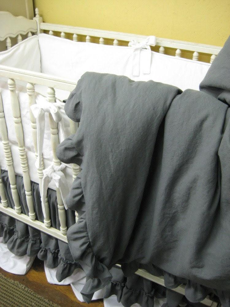 Vintage Style Velvet and Linen Crib Bedding