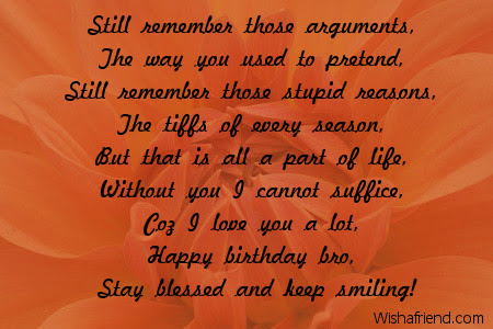 Brother Birthday Poems