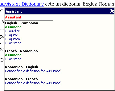 Assistant Dictionary - dictionar englez-roman-francez