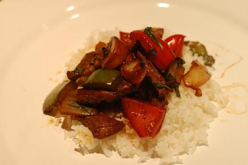 Basil, beef and vegetable stir fry