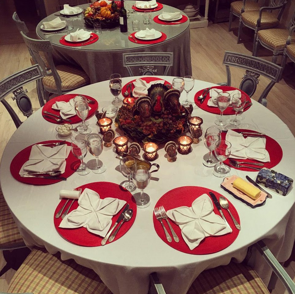 5. Gather round: This socialite celebrity's Thanksgiving was a rather formal affair - and apparently mom did all the cooking. But the swish set up isn't a surprise given that hospitality is what made her family rich