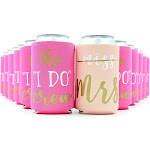 12-Pack Pink Bachelorette Party Insulated Neoprene Beer & Soda Sleeve Covers For Favors & Gifts, Fits 12 Ounce Cans