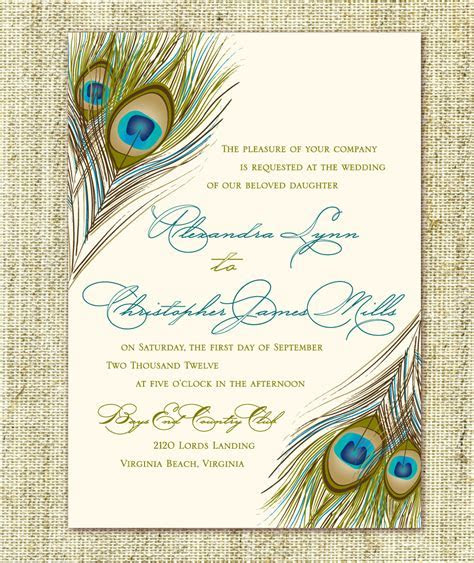 Wedding Invitation Peacock Feather Script Pocket by