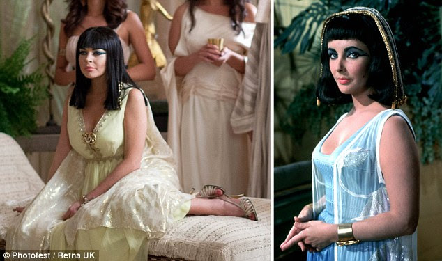 Look-a-like: Lindsay Lohan (L) looks the spitting image of Elizabeth Taylor (R) as she poses as Cleopatra