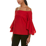 Tahari by ASL Womens Off The Shoulder Blouse with Tulip Bell Sleeve