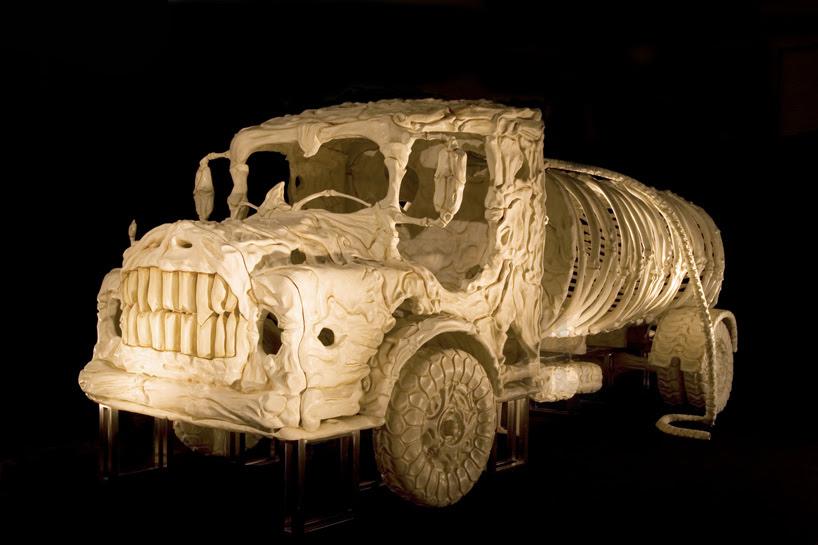 jitish kallat sculpts bone vehicles like prehistoric skeletons