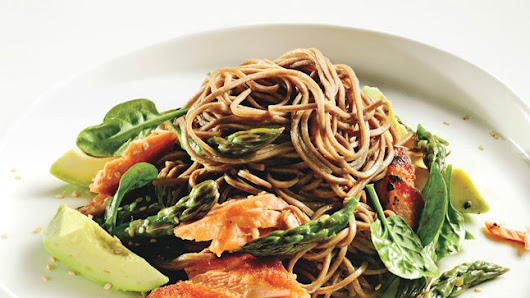 Soba Noodle Salad with Salmon and Asparagus Recipe