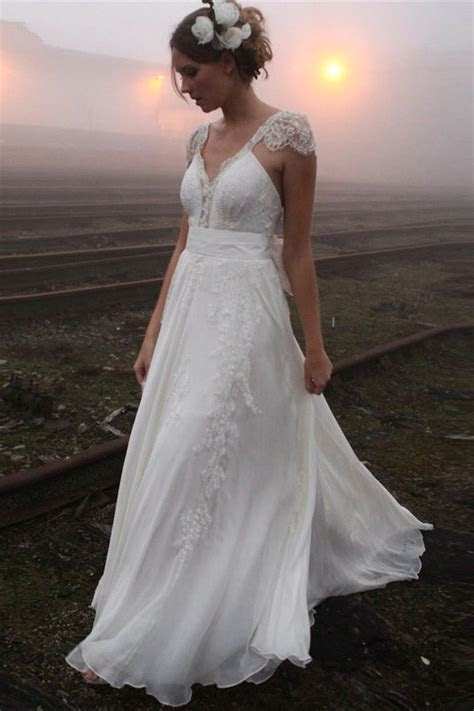 Elegant Summer Beach Wedding Dresses 2019 Cap Sleeve Lace