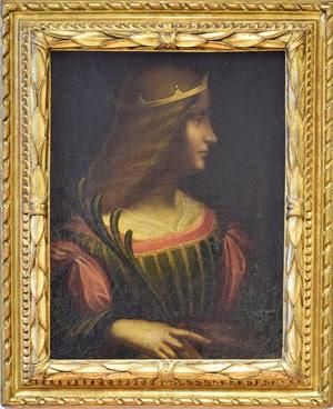 Quadro 'Ritratto di Isabella d'Este', atribuído a Leonardo da Vinci, em imagem divulgada pela polícia da Suíça nesta terça-feira (10) (Foto: Kantonspolizei Tessin)
