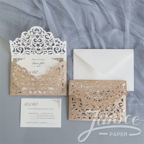 Glitter Paper Invites : Wholesale Wedding Invitations