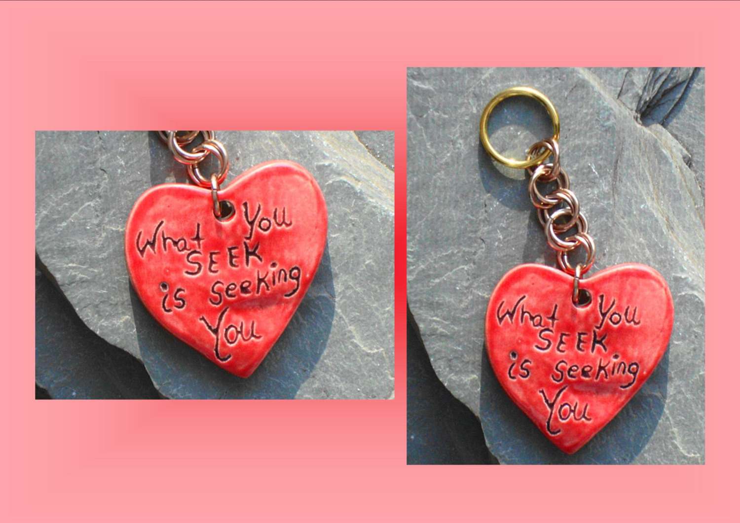 Ceramic Pendant Love Pendant Love Quotes Valentine Pendant Red Heart Heart Love Keychain Purse Accessory Brass