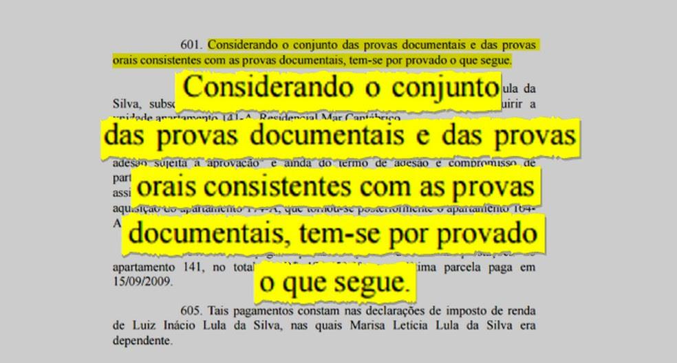 Destaque da sentença de Moro que condenou Lula na Lava Jato (Foto: Arte/G1)