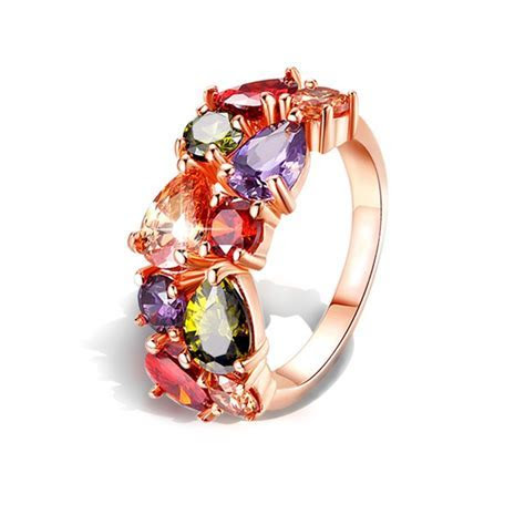 Wholesale Colorful Cubic Zirconia Ring Hypoallergenic
