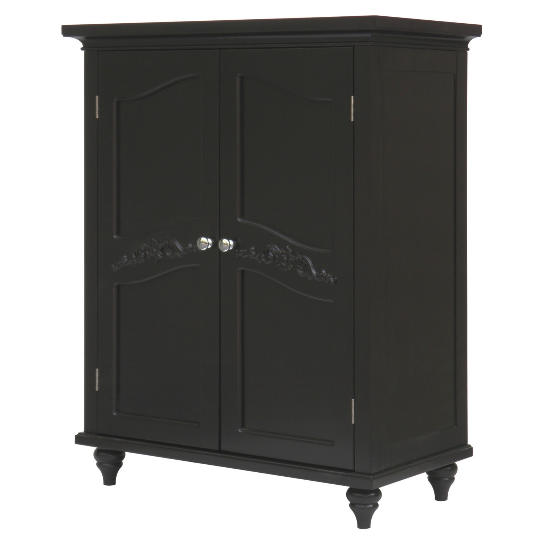 Dark Espresso Wood Bathroom Floor Cabinet with Traditional ...