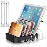 REXIAO Charging Station for Multiple Devices - 5 Port Cell Phone USB Charger Hub - Quick Charge Multi Phones, Tablet, iPhone, Ipad, Kindle and Other