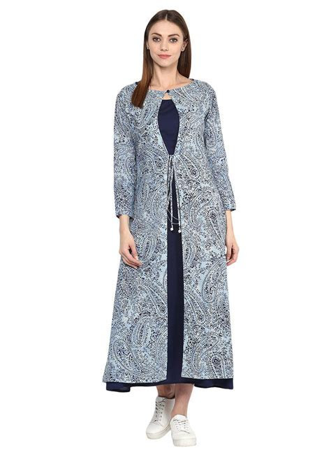 Buy Navy Blue Jacket Style Dress, Printed, dresses and
