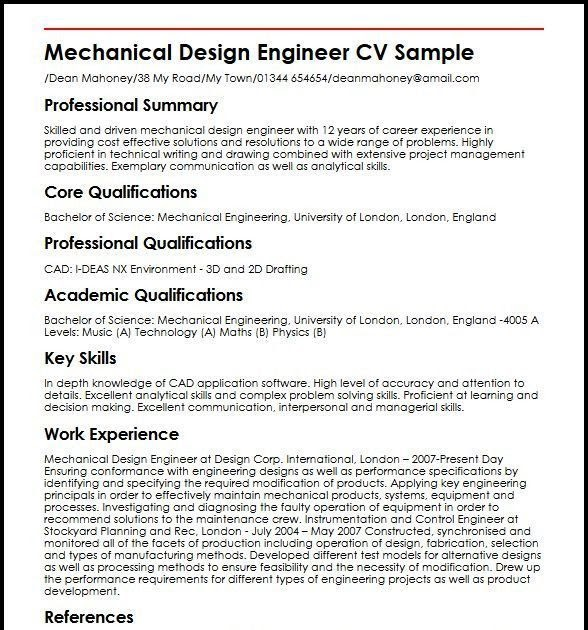 sample resume for mechanical design engineer with experience