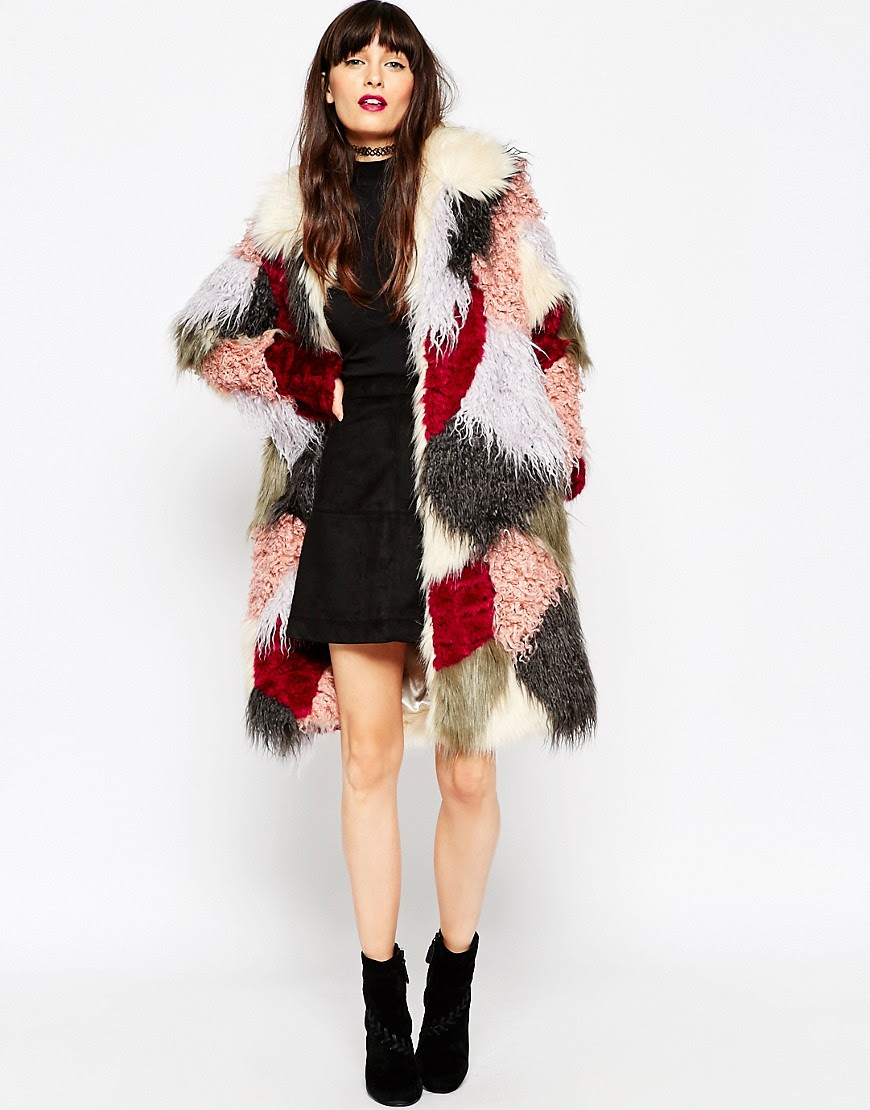 Image 1 of ASOS Swing Coat in Patchwork Faux Fur