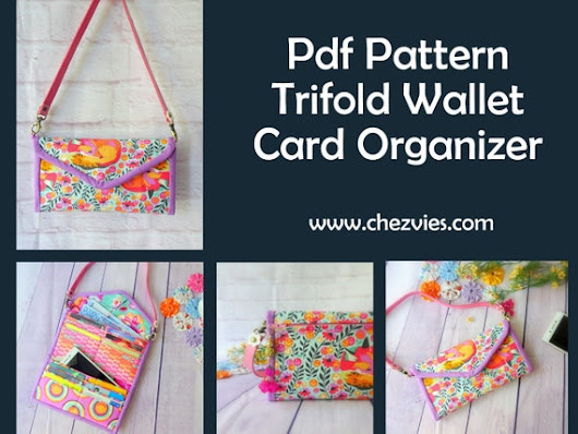 Trifold Womens Wallet Pdf Pattern, Card Organizer, Trifold Wallet , credit card wallet, instant download, minimalist purse, DIY sewing