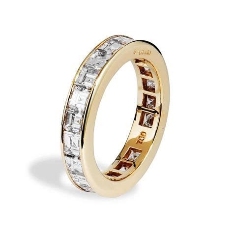 "Bulgari ""Carre"" Diamond Gold All Around Wedding Band Ring"