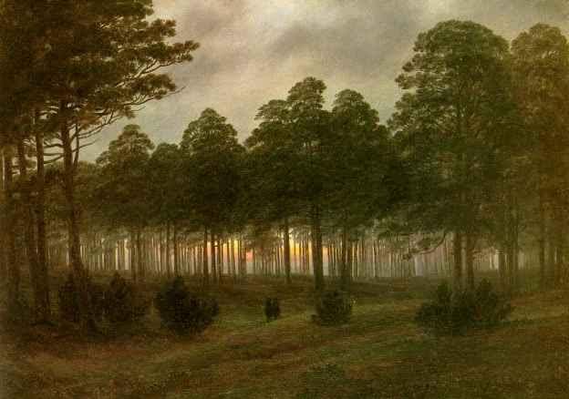 Evening1, óleo de Caspar David Friedrich (1774-1840, Germany)