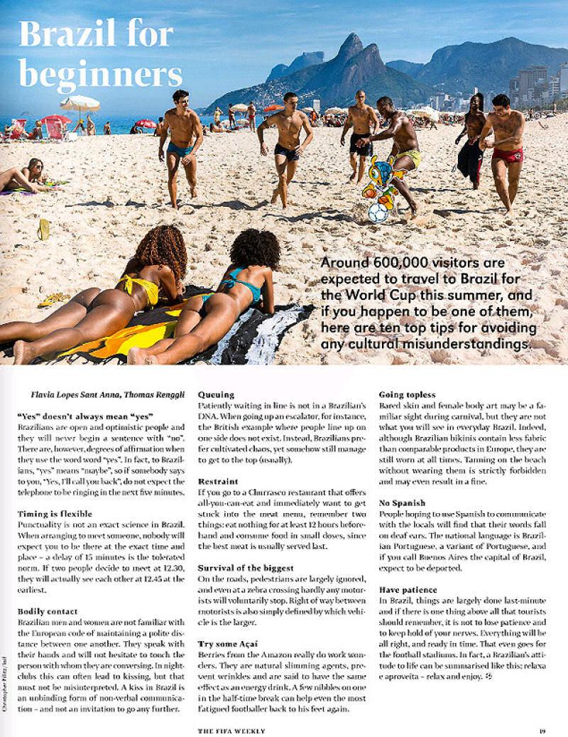 Artigo deletado na revista da FIFA criticava os brasileiros