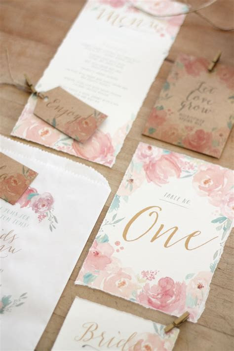 Wedding Stationery} Pastel Watercolour Peonies   Just My Type