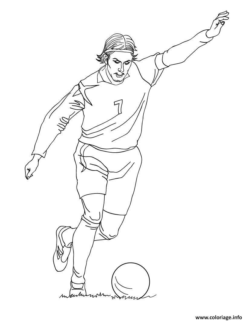 Coloriage David Beckham Joueur De Foot Dessin  Imprimer