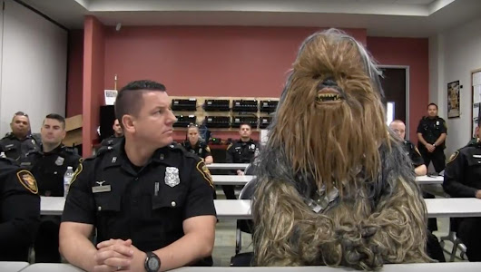 A member of the Force! Chewbacca recruits officers for the Fort Worth Police Department in hilarious video