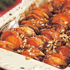 Roasted Apples and Sweet Potatoes in Honey-Bourbon Glaze Recipe