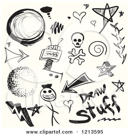 1213595 Clipart Of Black Doodle Sketches On Off White Royalty Free Vector Illustration