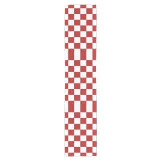Checkered Red and White Table Runner Short Table Runner