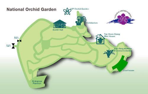 Карта на Националната градина на орхидеите