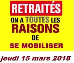 """Résultat de recherche d'images pour """"mobilisation retraites 15 mars 2018"""""""