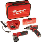 Milwaukee Electric Tools 2482-22 Milwaukee M12 Screwdriver W/ Led Worklight, 40-piece Bit Set, [2] 1.5ah Batteries And Bag (248222)