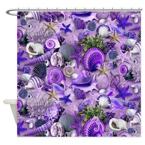Purple Seashells and Starfish Shower Curtain by