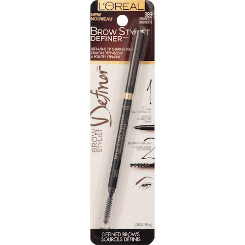 Loreal Brow Stylist Definer Tip Shaping Pencil, Ultra-Fine, Brunette 389 - 0.003 oz