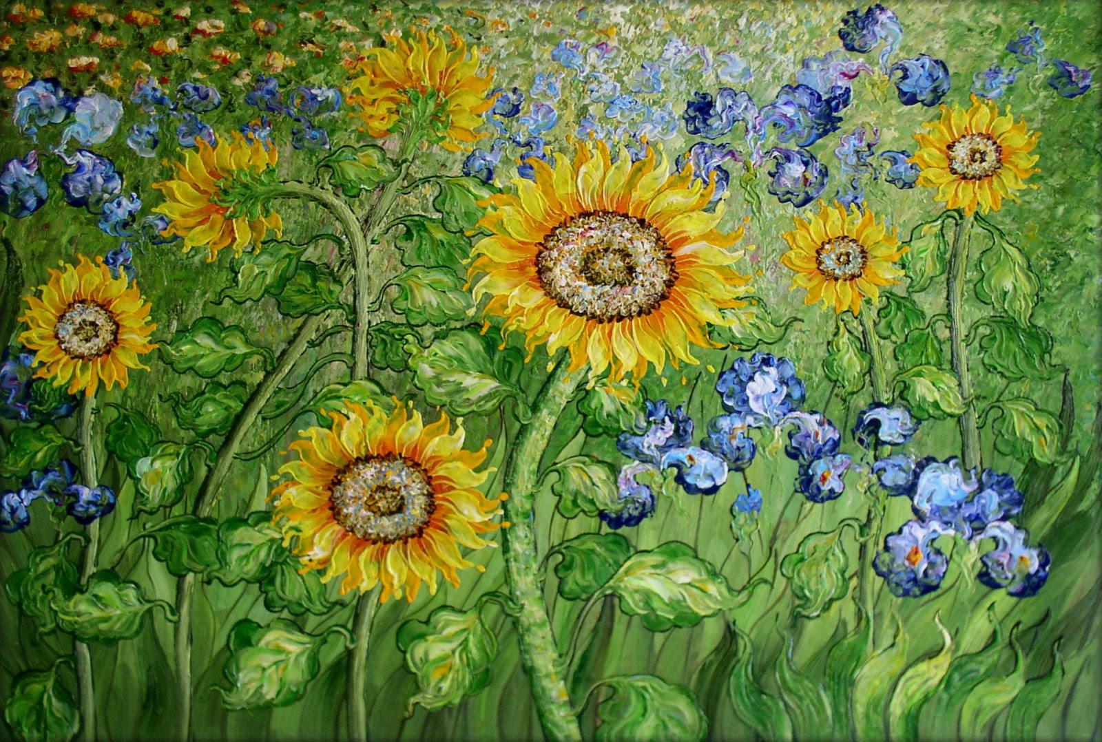 Van Gogh Sunflower and Irises Field Repro III, Hand ...