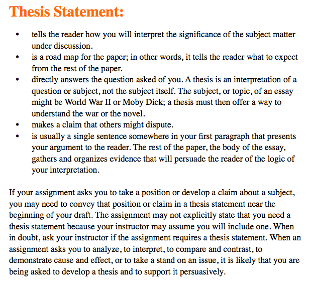 a thesis statement example for an essay